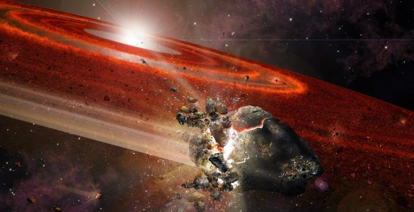Illustration of rocky objects colliding in the debris disk around a young star.