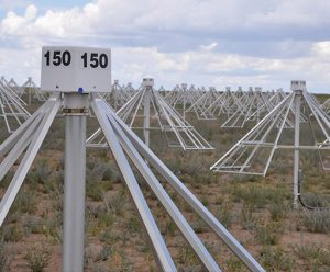 Radio telescopes like the Long Wavelength Array, seen here, do not need accurate dish surfaces to detect radio waves from space. These use dipole antennas in a cross-shape.