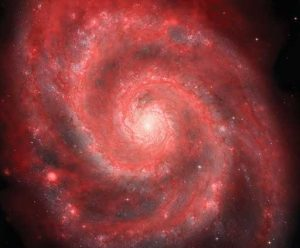 The Whirlpool Galaxy is a spiral galaxy like our own Milky Way Galaxy. Spirals are known for their non-stop star births and deaths, seen here in (false color) pink by the VLA.