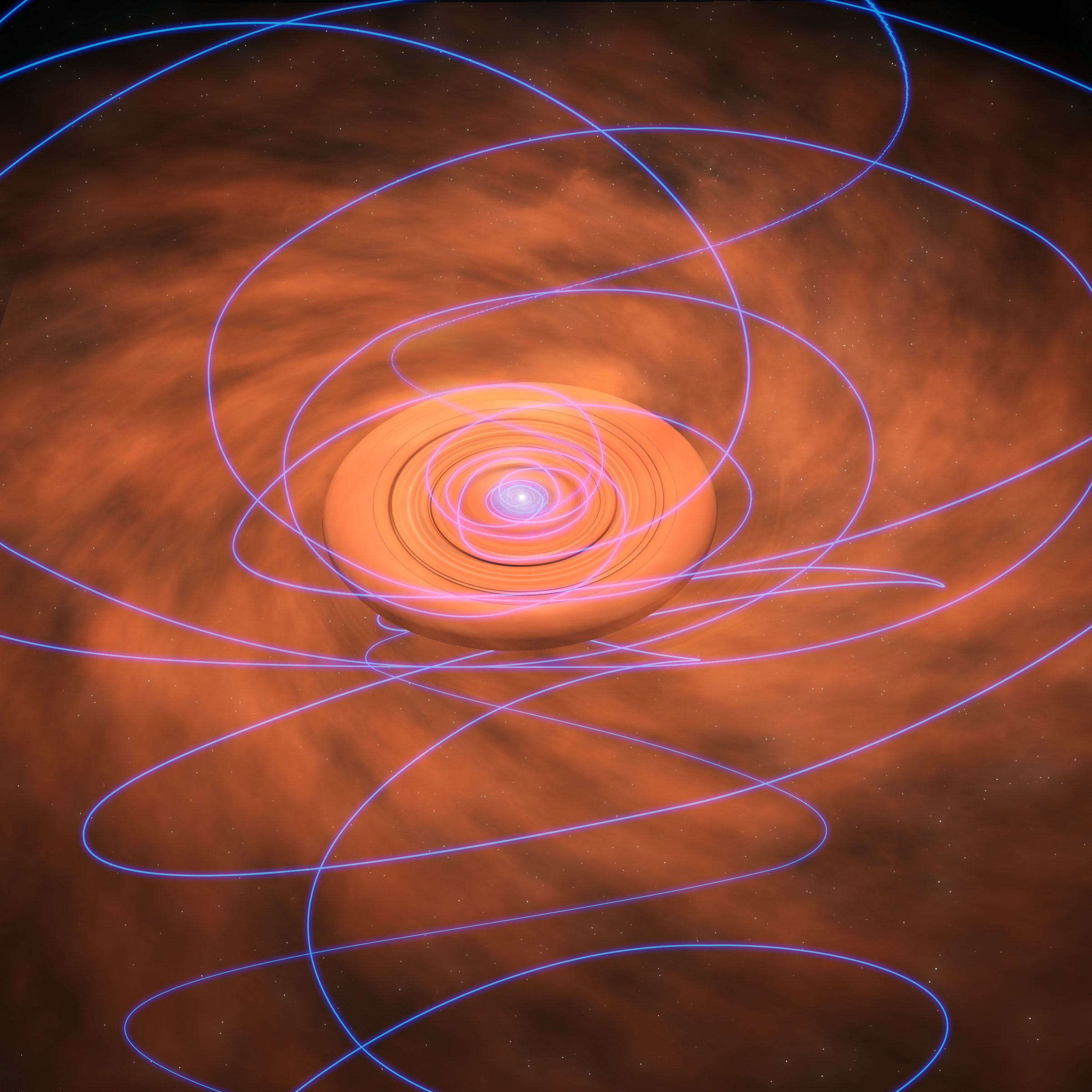 Artist's conception of magnetic field lines twisting into a dusty protoplanetary disk around a young star.