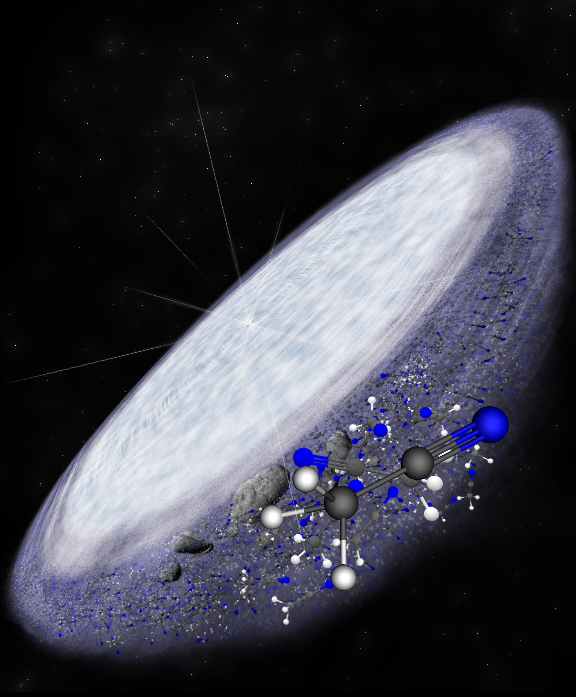Illustration of a protoplanetary disk around a young star MWC 480, with molecules in the foreground.