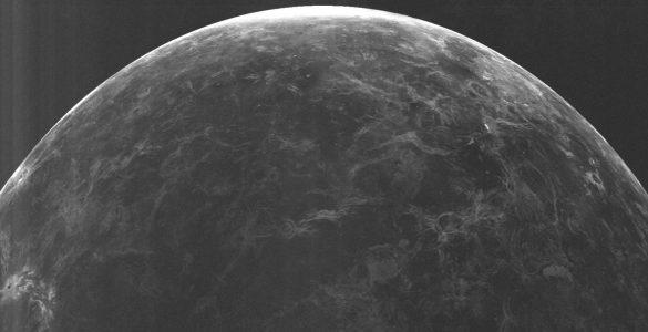 Radar image of half of the planet Venus.