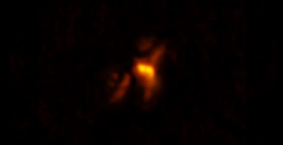 Radio jets from the supermassive black hole at the center of a galaxy in the Phoenix Cluster