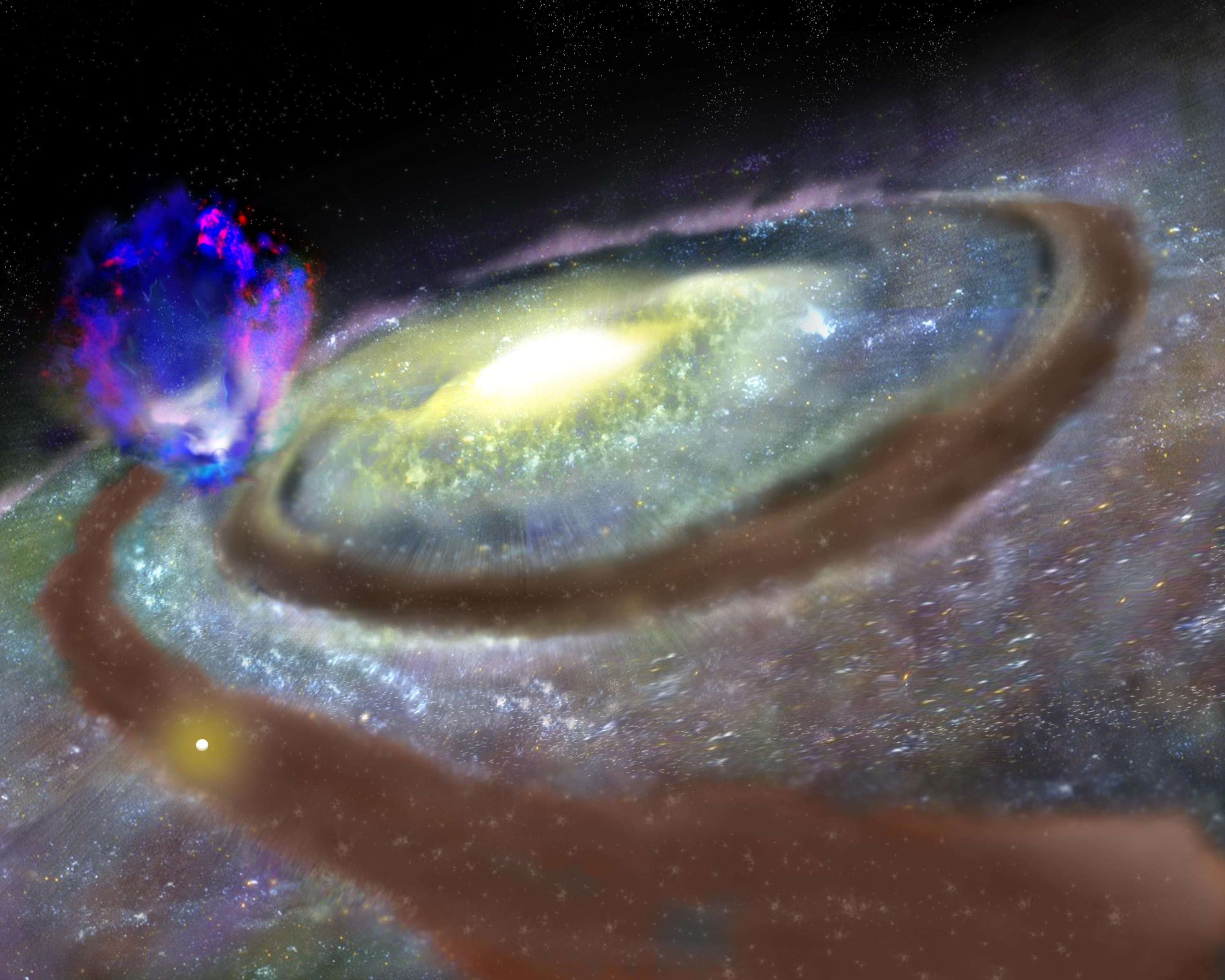 Artist's impression of Milky Way galaxy and Superbubble