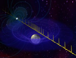 Artist's impression of white dwarf and pulsar