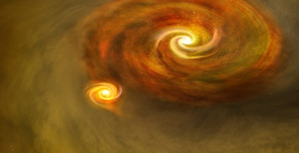 Artist's conception of Binary Star Formation