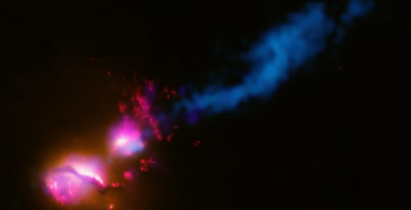 Black Hole Fires Jet at Companion Galaxy