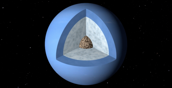 Artists impression of wedge cut-out of Neptune