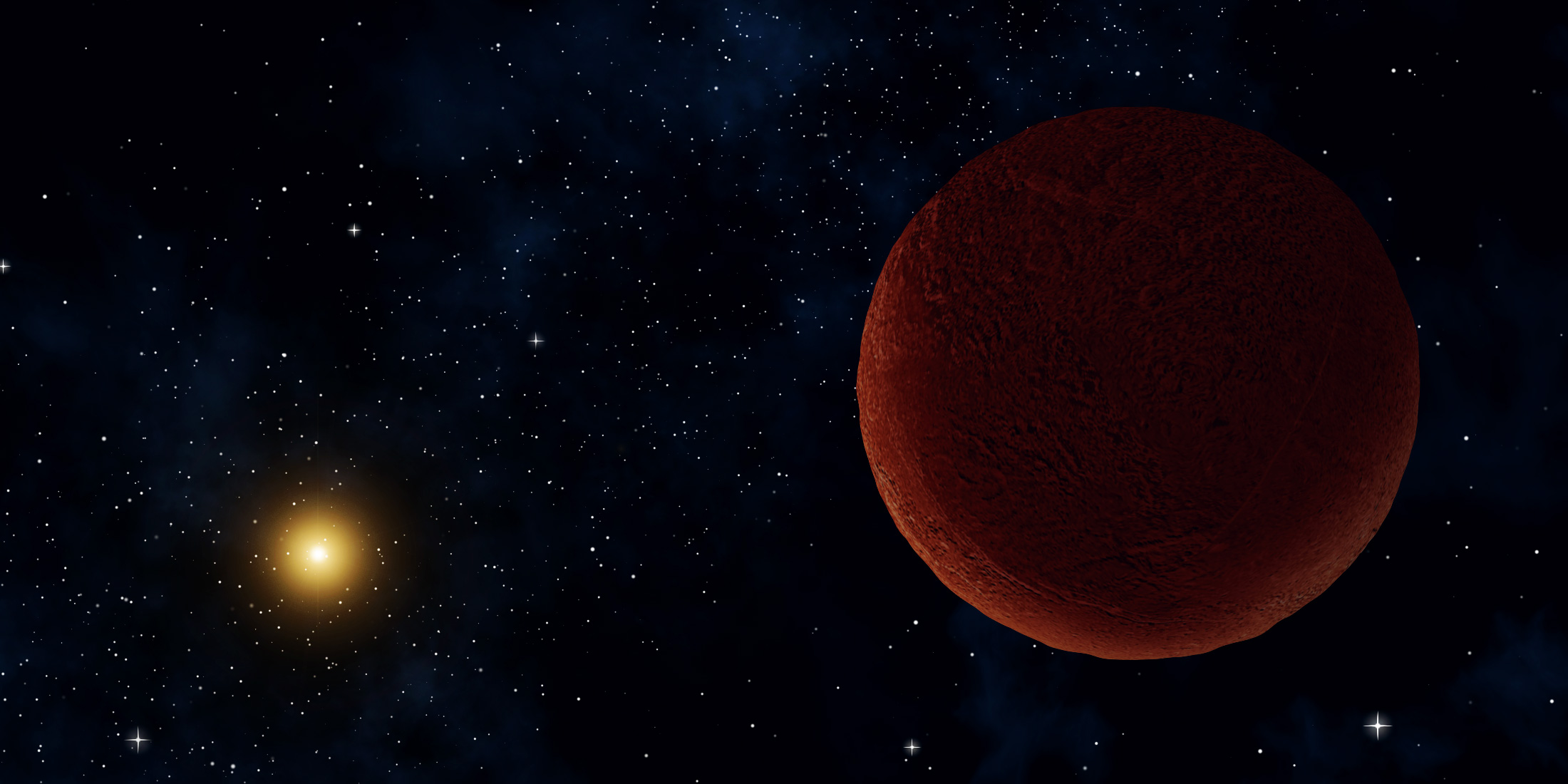 Illustration of a dwarf planet with stars and the Sun in the background.