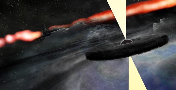 Artist's conception of two supermassive black holes in galaxy Cygnus A.