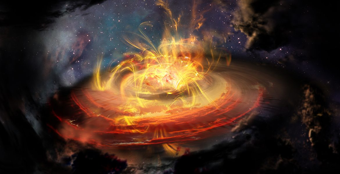 Artist impression of chaotic magnetic field lines very near a newly emerging protostar.