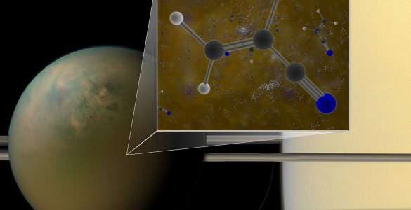 Titan is shown in an optical (atmosphere) infrared (surface) composite from NASA's Cassini spacecraft. In a liquid methane environment, vinyl cyanide may form membranes.