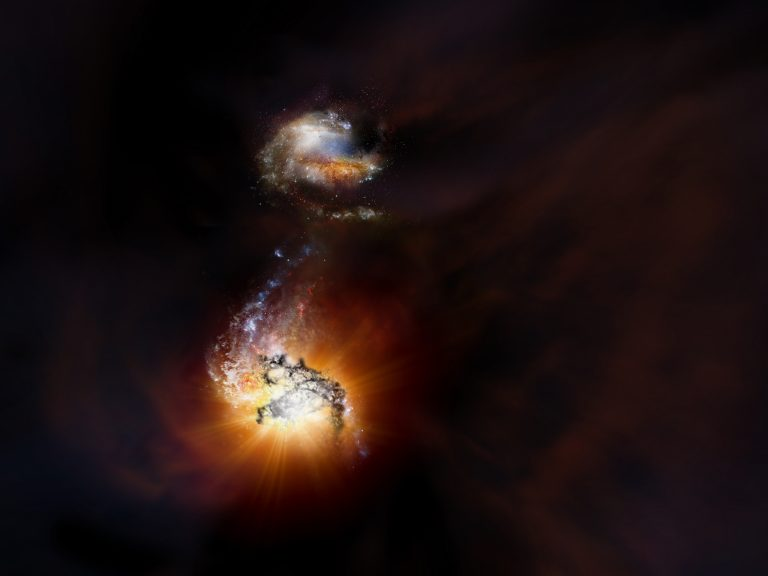 Artist impression of two starbursting galaxies