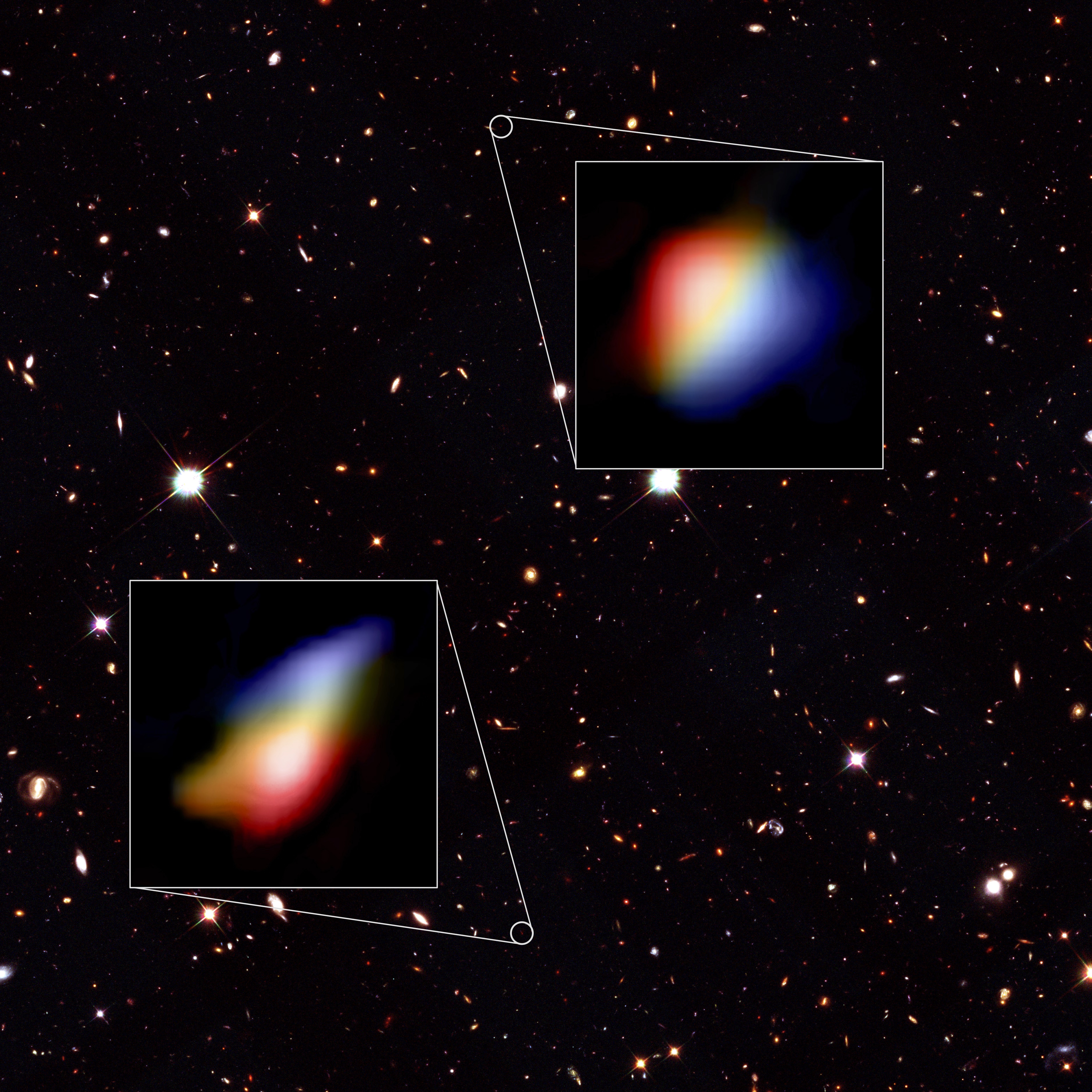 ALMA images of rotating galaxies on a background from the Hubble Space Telescope
