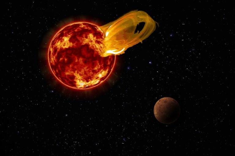 An artist's impression of a flare from Proxima Centauri