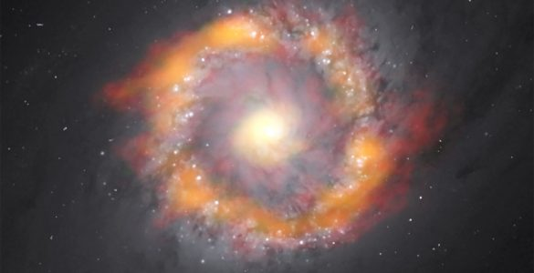 Composite image of the barred spiral galaxy NGC 1097, including images from ALMA and HST