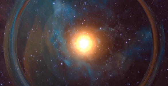 Artist's impression of explosion resulting from two neutron stars merging.