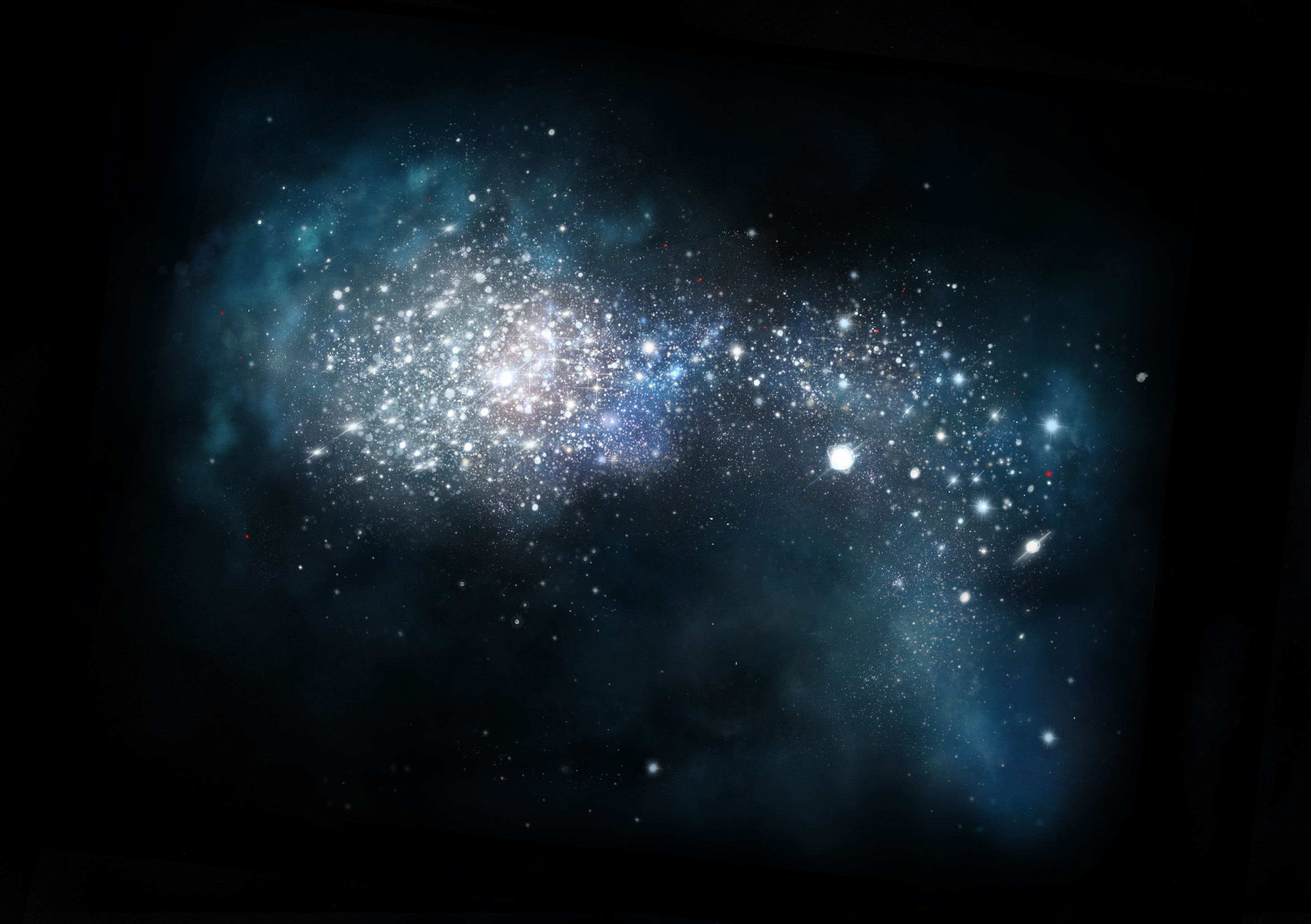 Artist impression of very young galaxy in the early universe.