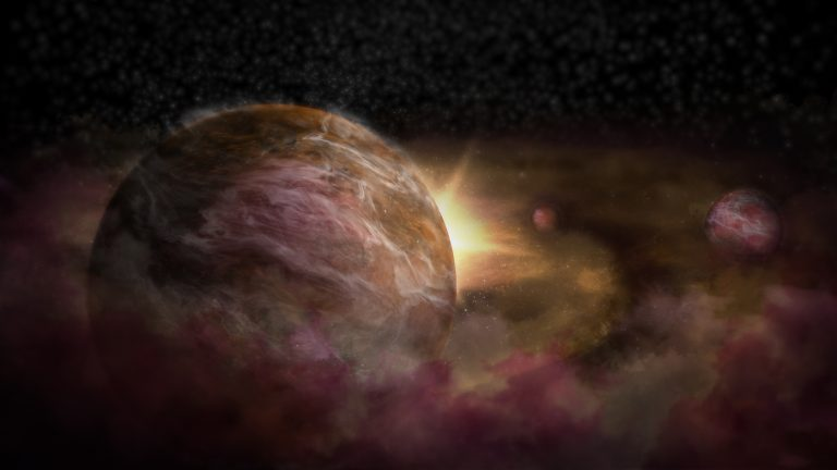 Artist impression of protoplanets forming around a young star.