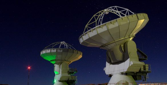 ALMA antennas at night