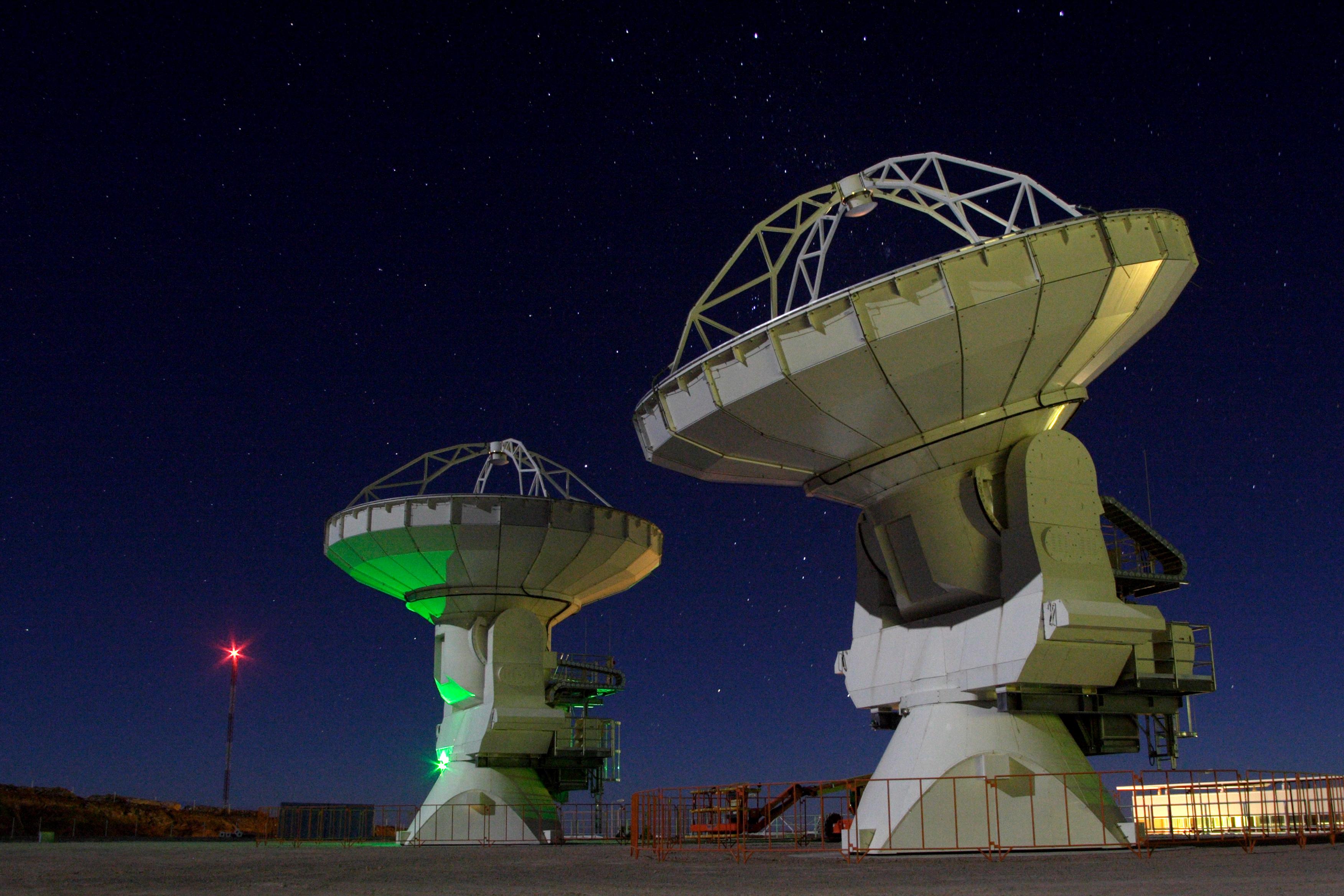 ALMA antennas at night