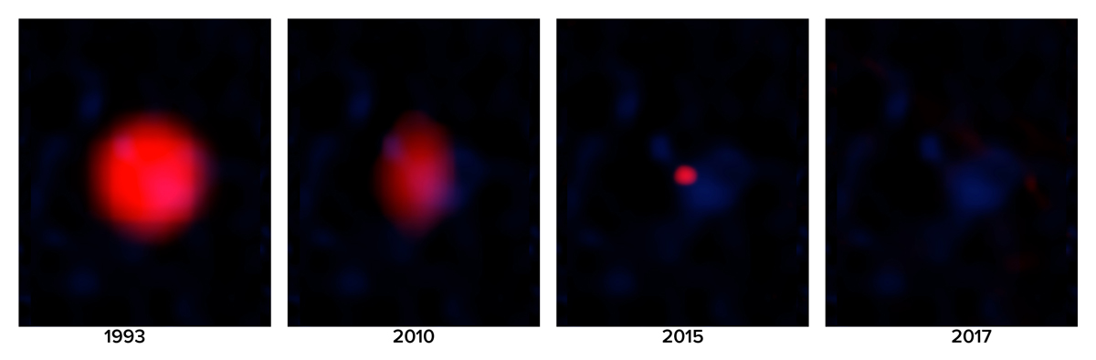 Series of radio images of FIRST J1419+3940 from 1993 to 2017