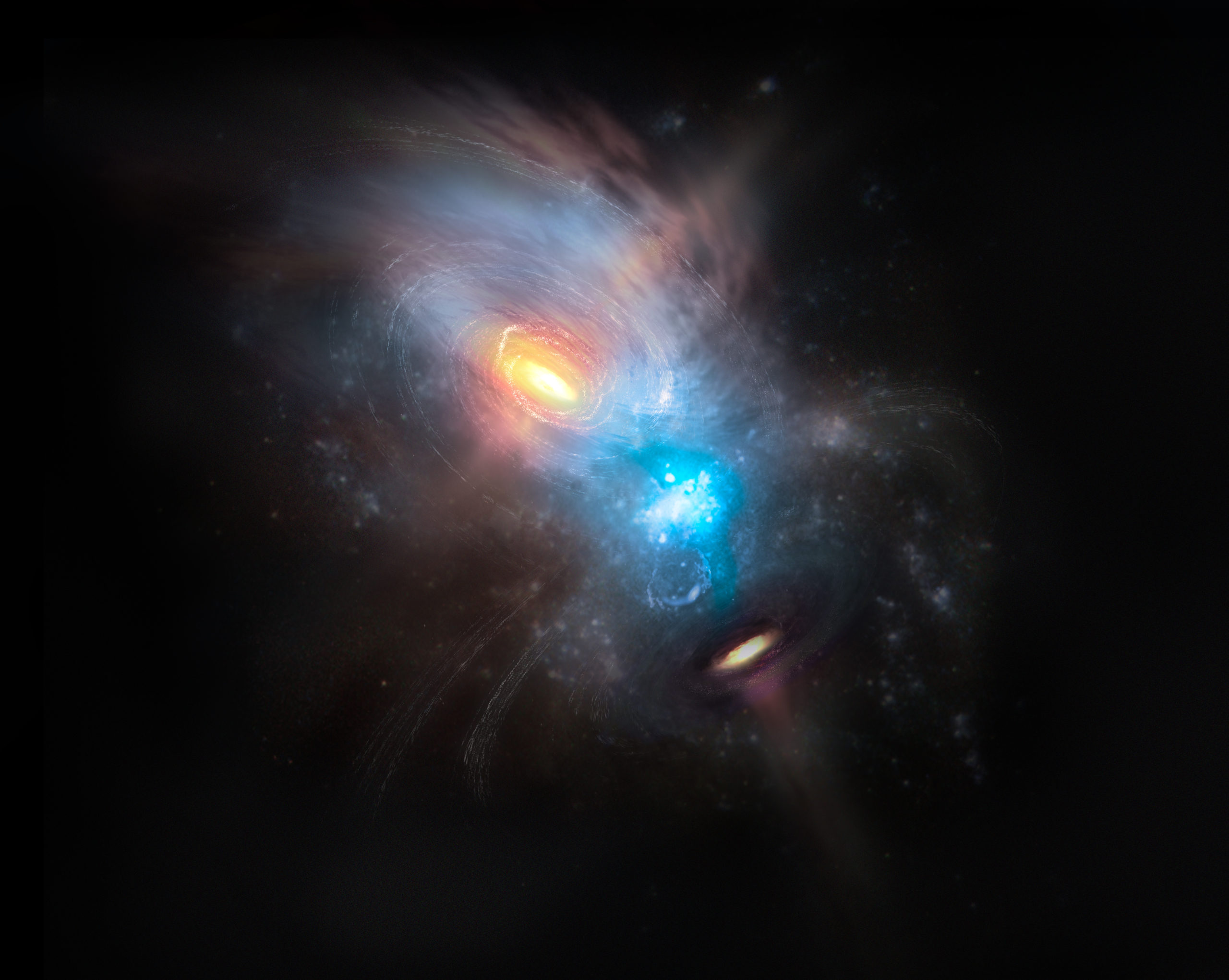 Artist impression of the merging galaxy NGC 6240