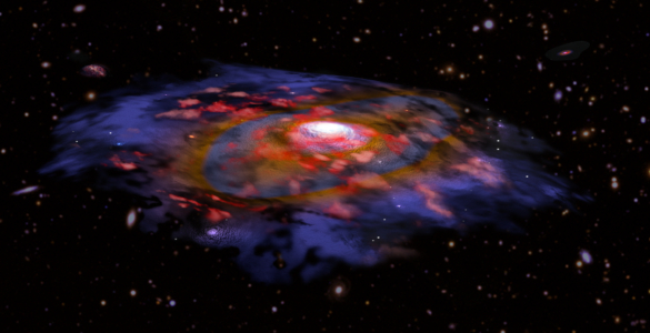 Artist's animation of a dusty, rotating distant galaxy