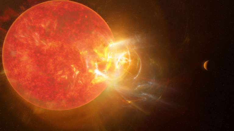 Image showing an active M dwarf star, Proxima Centuari, in red with many star spots, ejecting a large stellar flare in yellow and white. Proxima Centauri b, a small Earth-like planet is seen in the distant right of the image.
