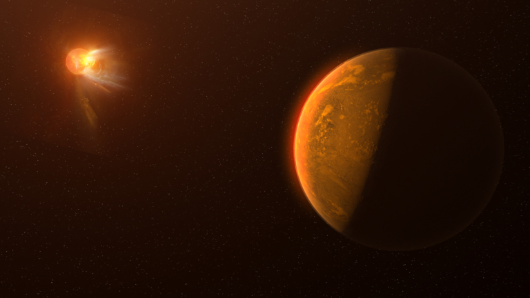 Artist's conception of Proxima Centauri b, a small brownish Earth-like planet that orbits Proxima Centauri. In the distant upper left of the image Proxima Centauri, in reddish hues, ejects a powerful stellar flare in white and yellow.