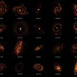 Twenty galaxies in the nearby universe shown as ALMA and Hubble Space Telescope composites. They are shown in orange and red to highlight their different structures, including spirals, rings, S shapes, and more.