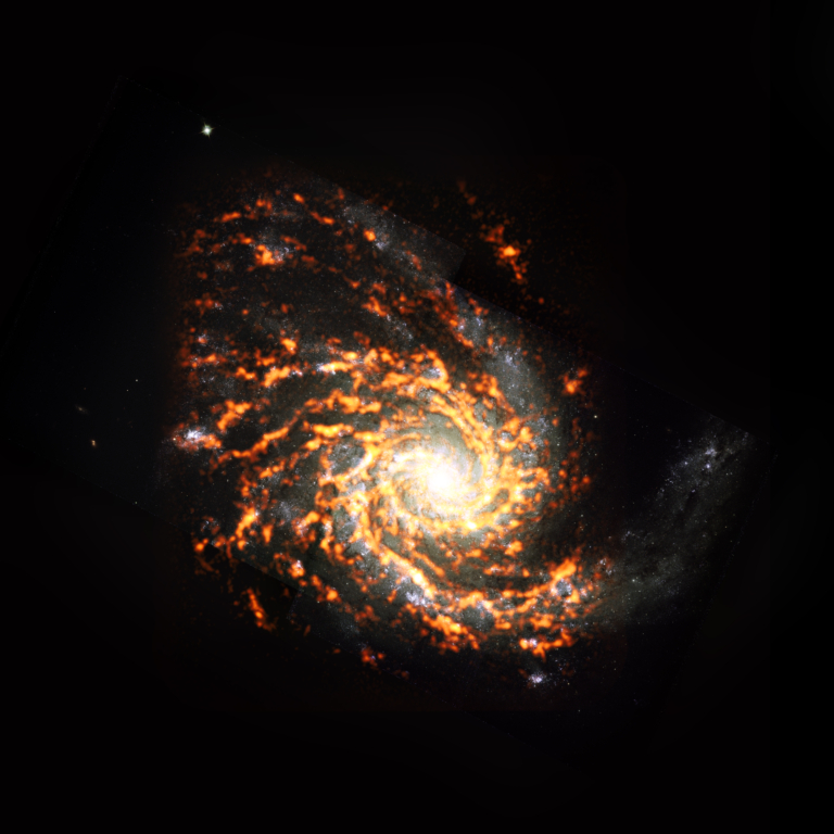 Composite image of NGC 4254, an M type galaxy with a spiral showing at least 8 arms in white, red, an orange.