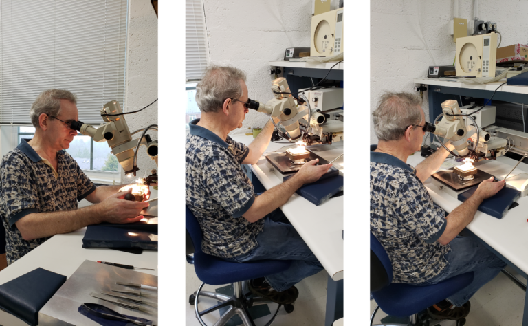 Three images side by side of Laurence Platt, an older man, sitting at a desk with a microscope, working on a low noise amplifier.